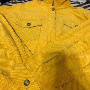 Mustard colored corduroy crop top jacket